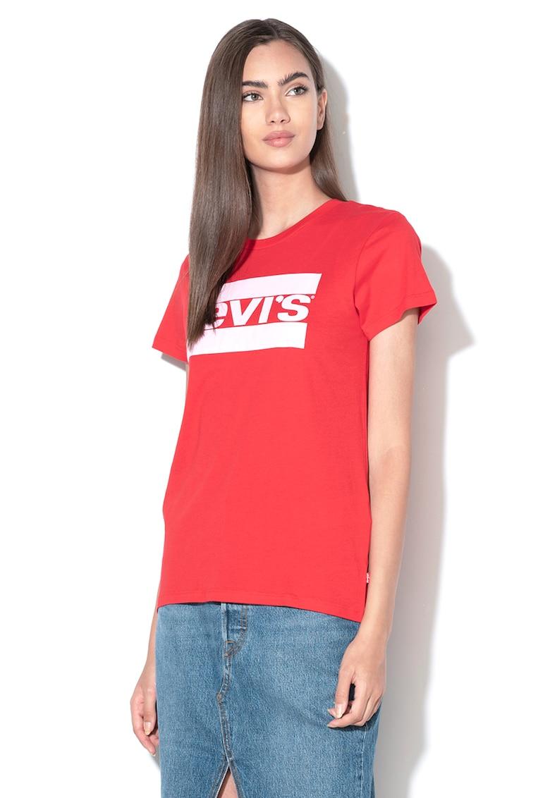 Tricou cu decolteu la baza gatului si aplicatie logo brodata de la Levis
