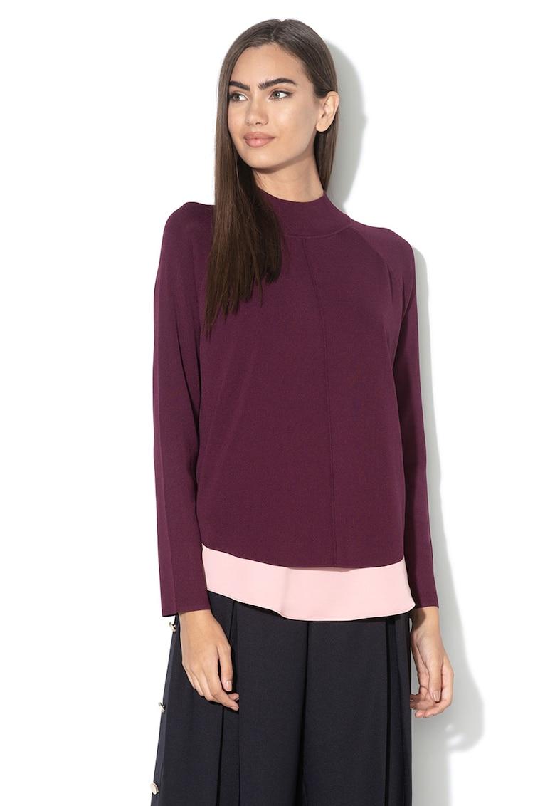Pulover din tricot fin - cu garnitura asimetrica Popilia