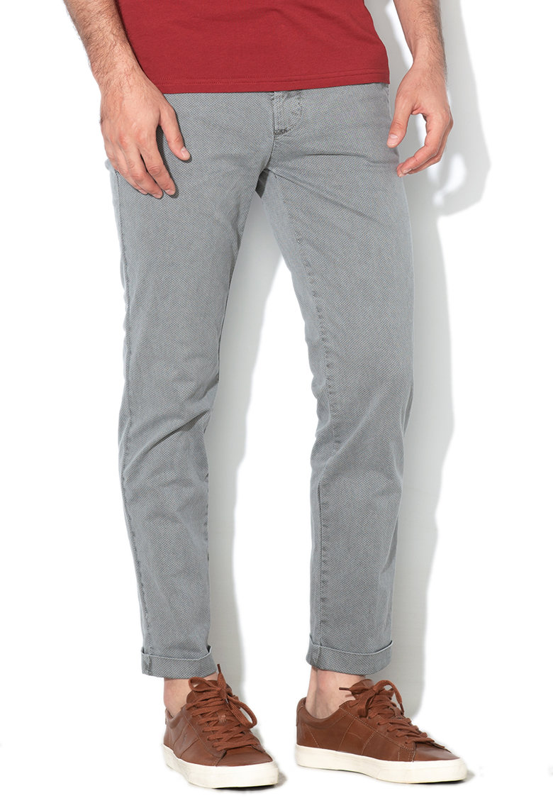 Pantaloni chino crop cu model discret