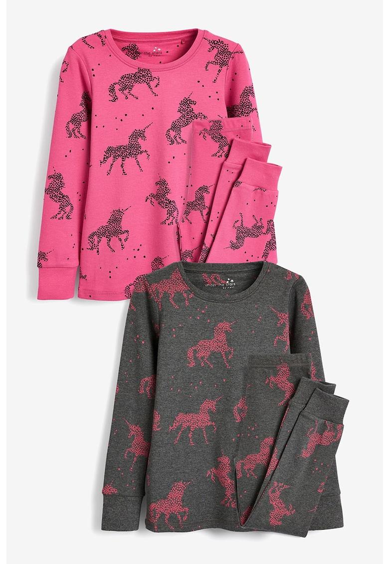 Set de pijamale cu pantaloni lungi si model inorog- 2 perechi de la NEXT
