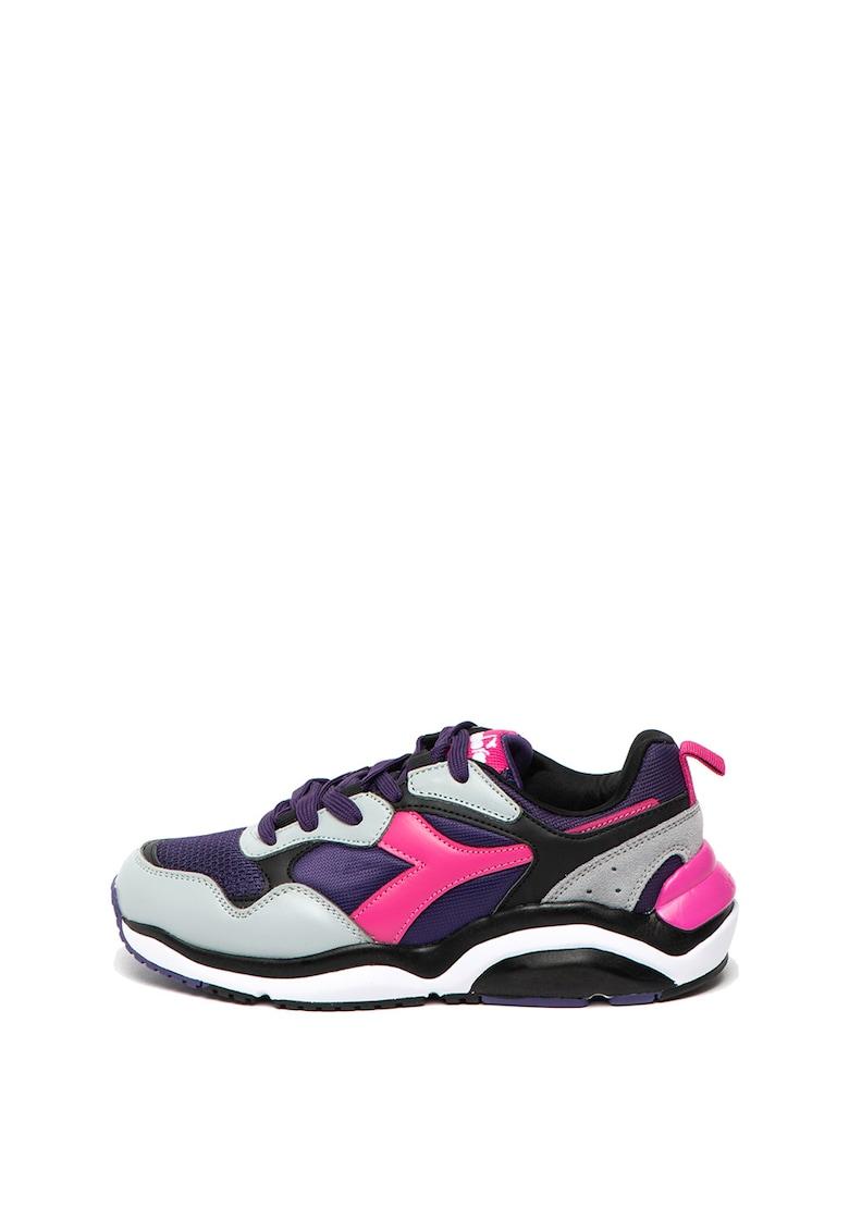 Pantofi sport cu model colorblock si garnituri de piele intoarsa Whizz Run