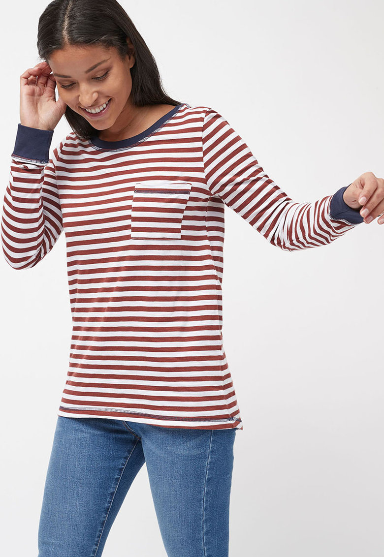 Bluza in dungi cu buzunar aplicat NEXT