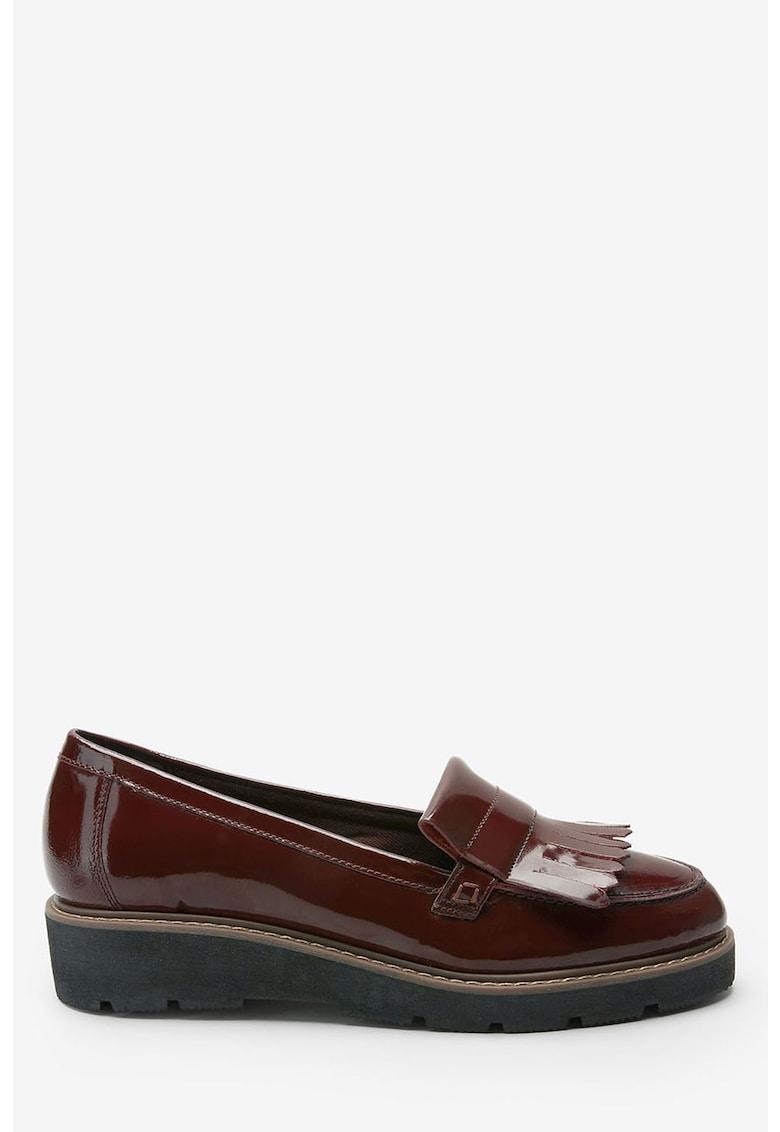 Pantofi loafer de piele lacuita - cu detalii franjurate