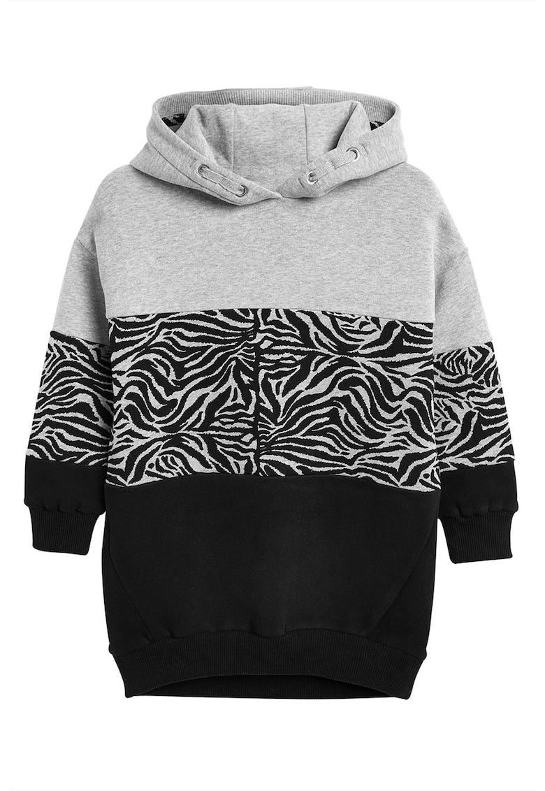 Rochie cu gluga si segment cu imprimeu zebra de la NEXT