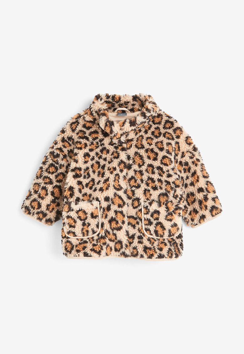 Jacheta din material teddy – cu animal print NEXT
