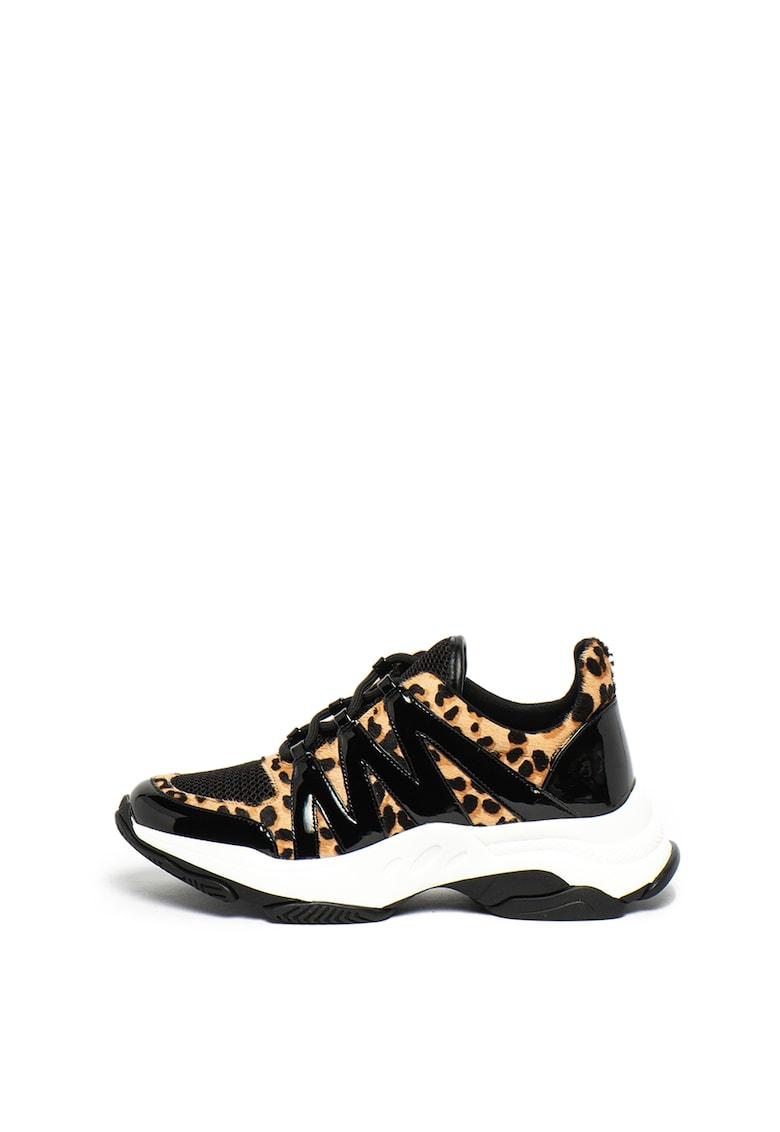 Pantofi sport cu talpa wedge si insertii de piele cu par scurt Maximus
