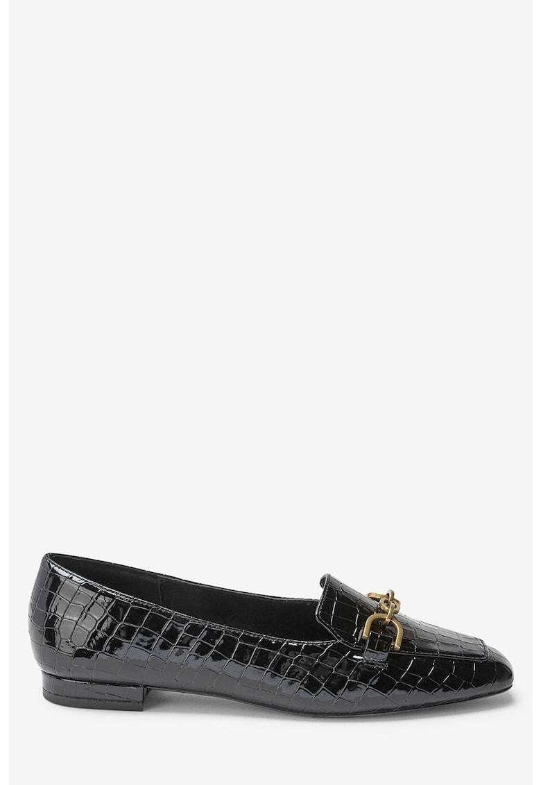Pantofi loafer cu model piele crocodil si aspect lacuit NEXT