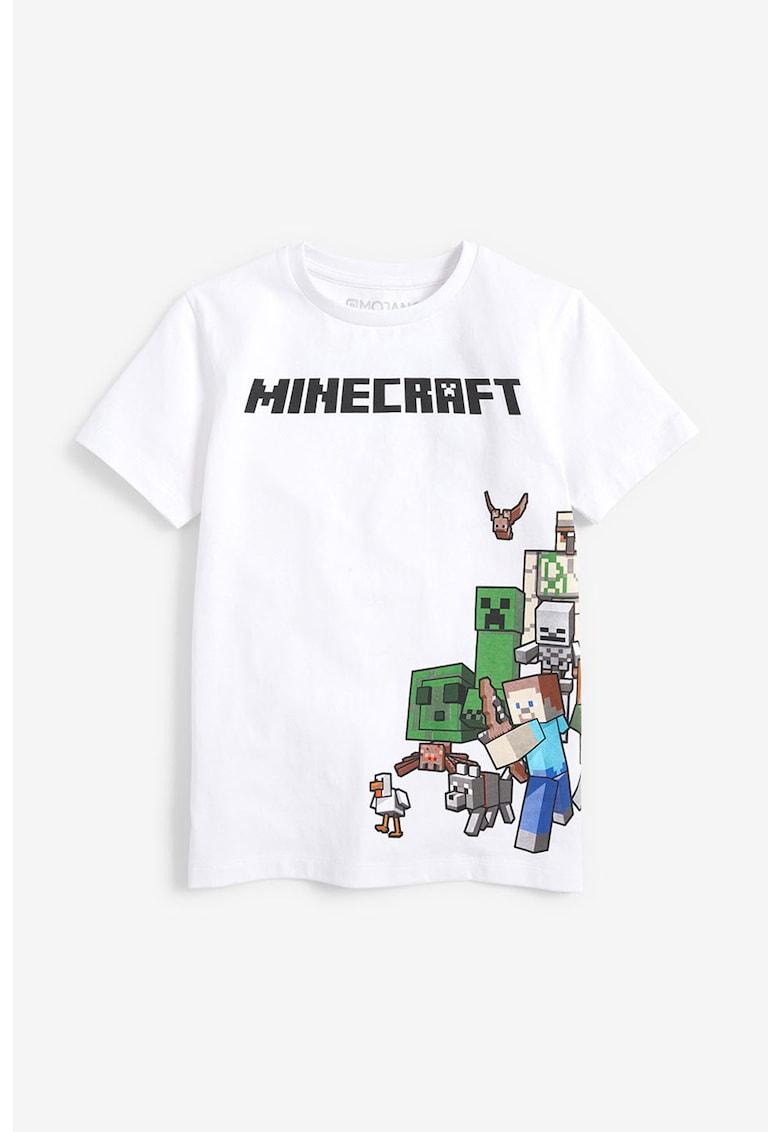 Tricou de bumbac cu imprimeu text si model grafic de la NEXT