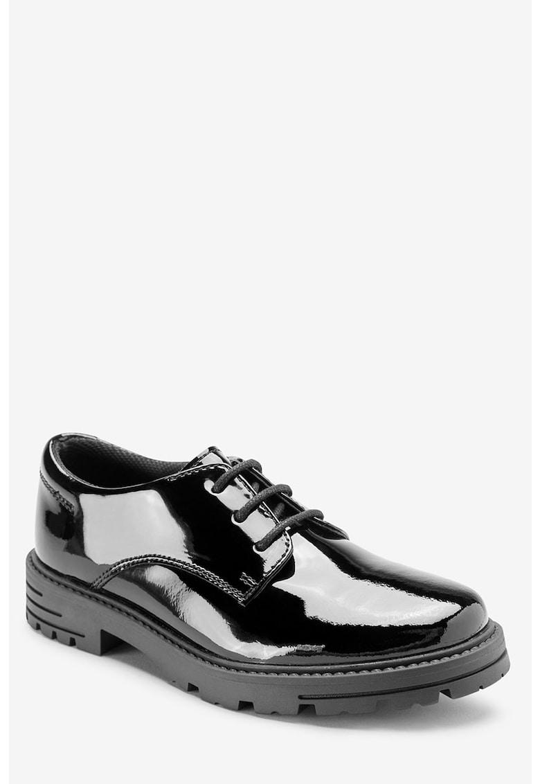 Pantofi de piele cu aspect lacuit imagine