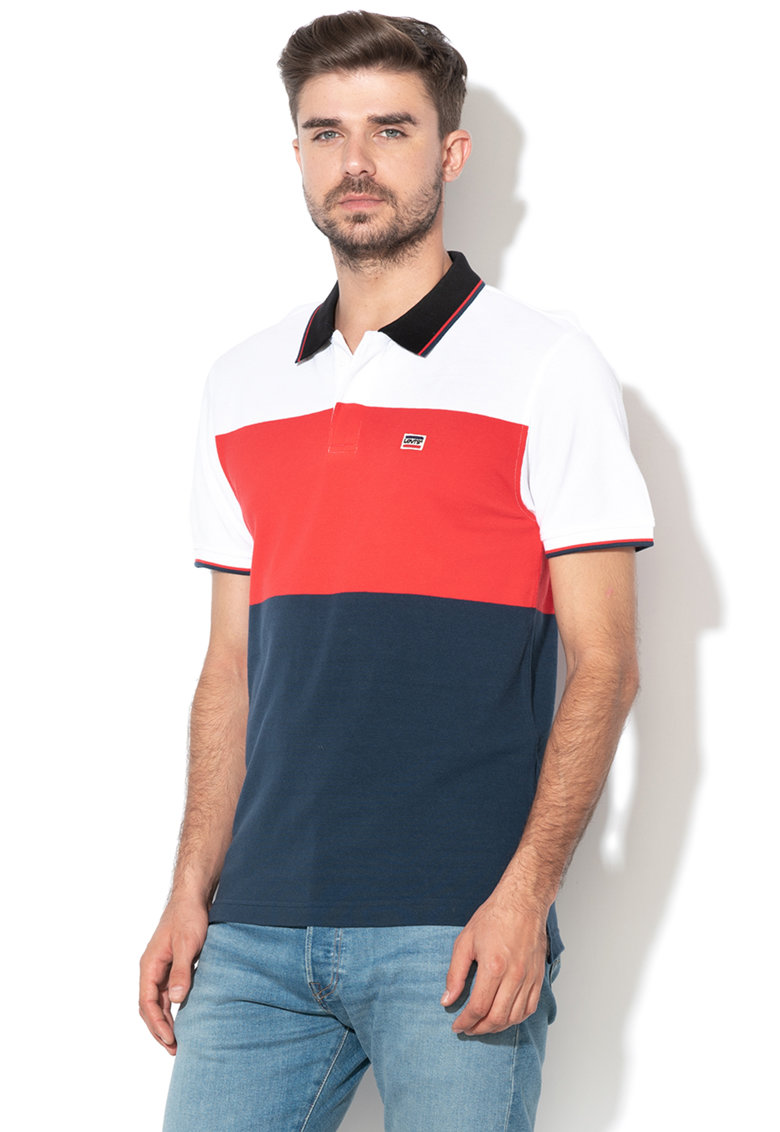 Tricou polo din pique cu model colorblock Levis