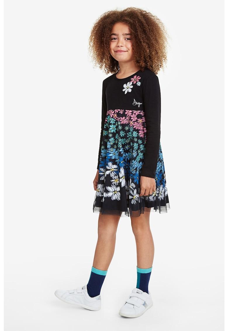 Rochie cu imprimeu floral si strat exterior de tul