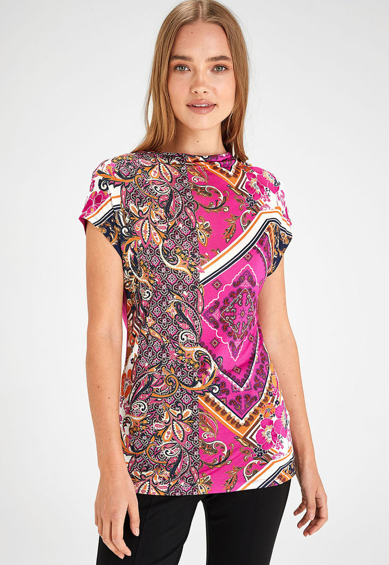 NEXT Bluza cu guler drapat si model