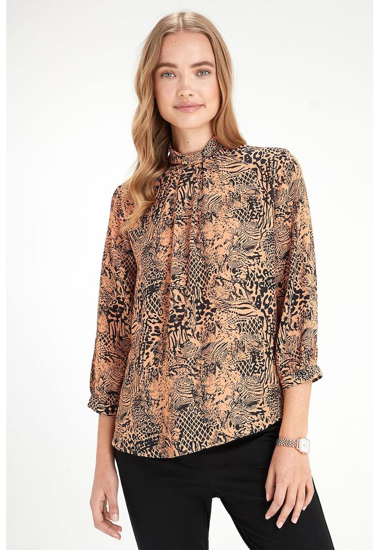 NEXT Bluza cu animal print si guler mediu