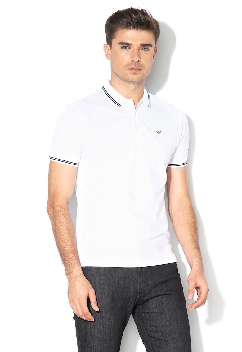 Tricou polo din material pique cu logo pe piept Bărbați imagine