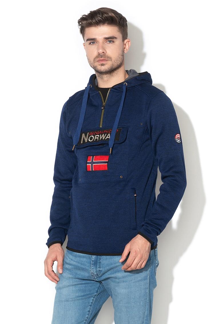 Hanorac tricotat cu buzunar frontal aplicat Upclass