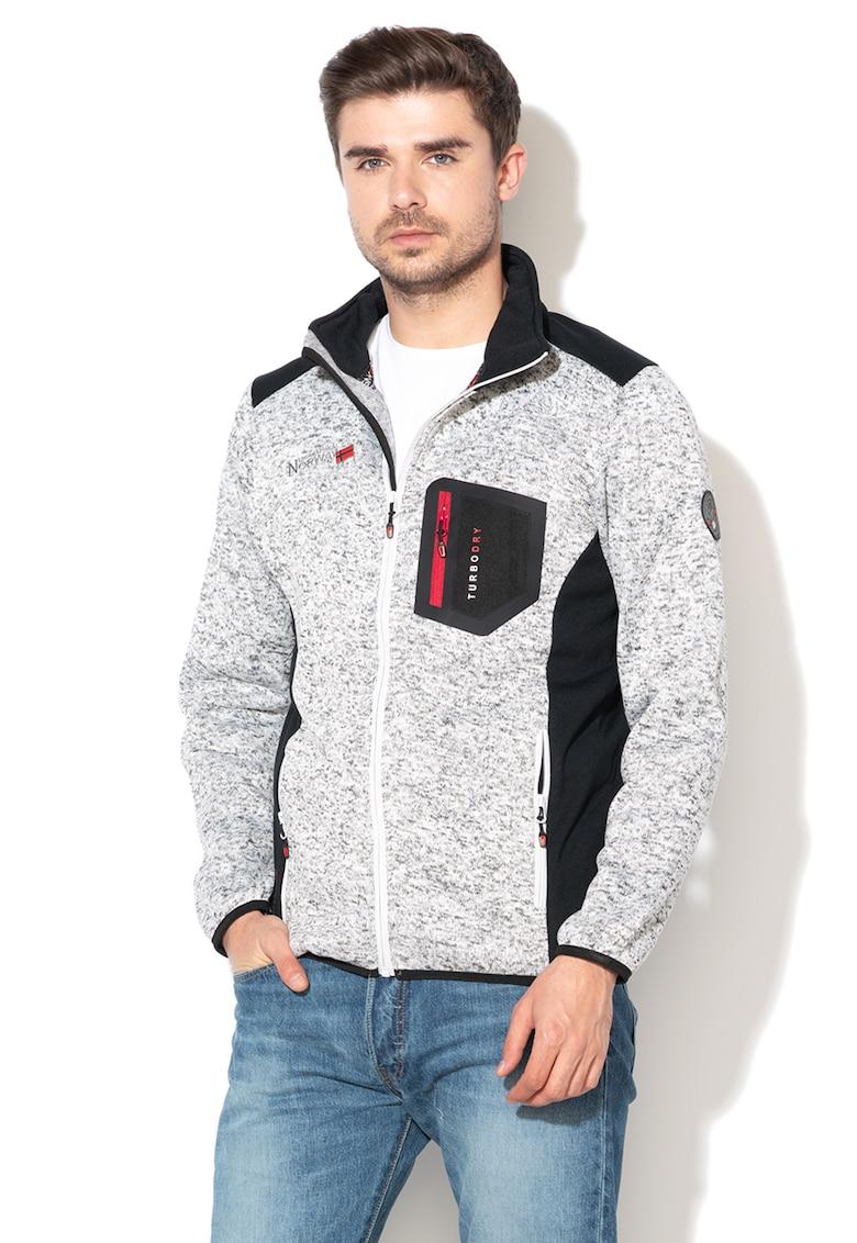 Bluza sport cu fermoar si aspect tricotat Urval imagine