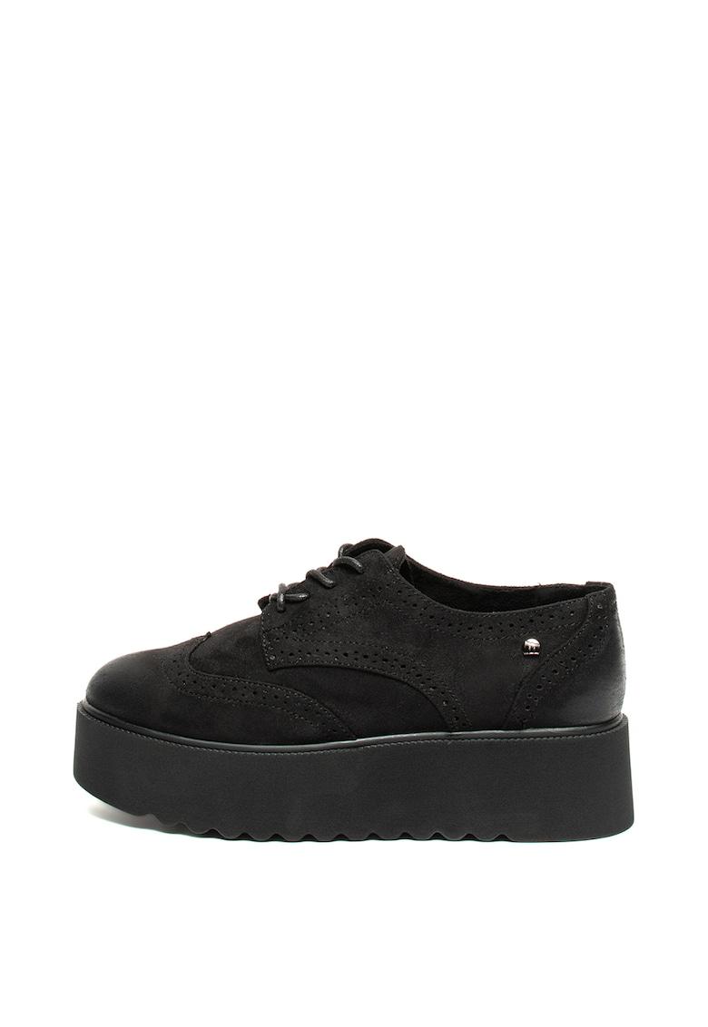 Pantofi flatform din piele intoarsa ecologica MTNG