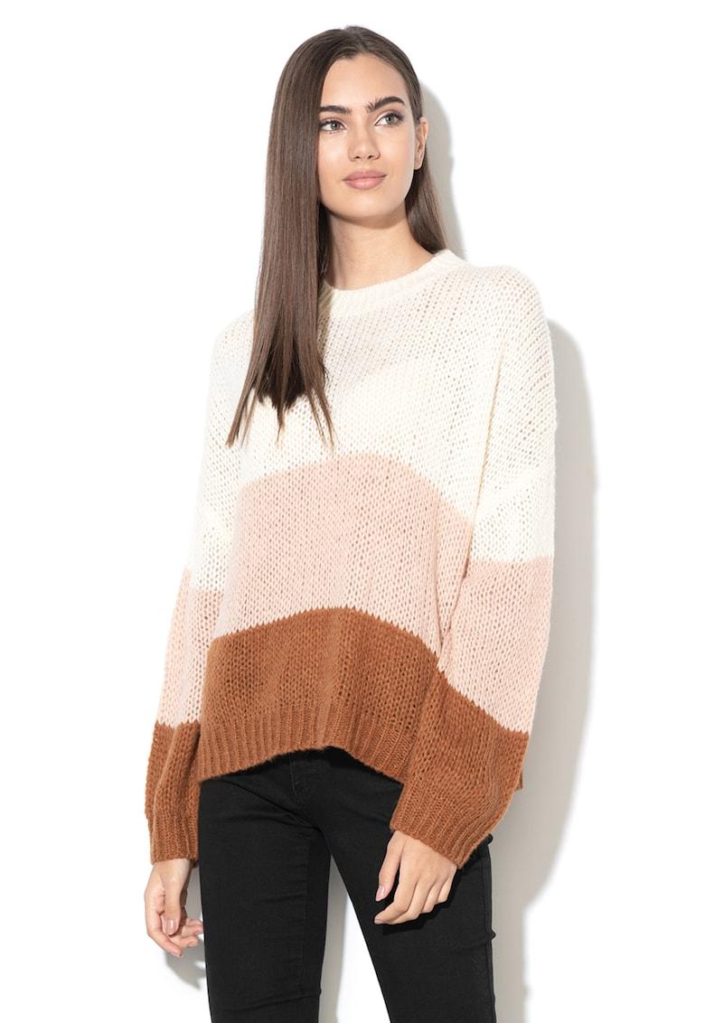 Pulover tricotat din amestec de lana cu model colorblock Violet