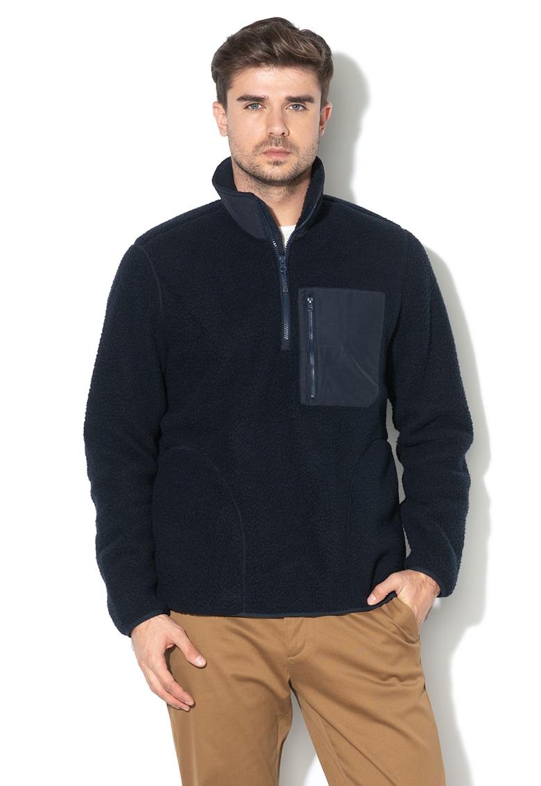 Bluza sport din fleece cu fenta cu fermoar