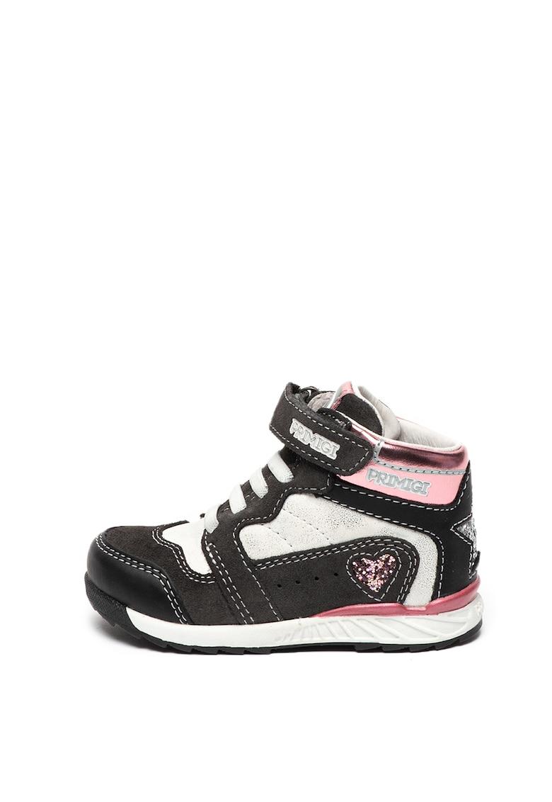 Pantofi sport inalti cu insertii de piele intoarsa