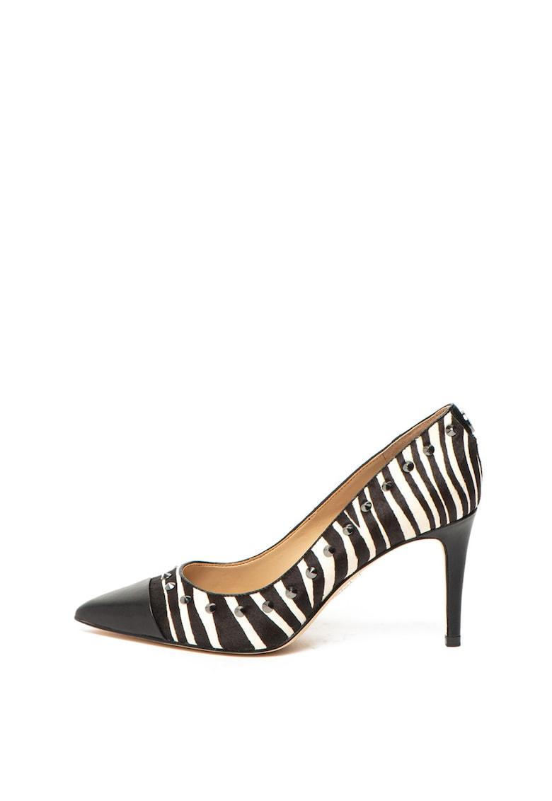 Pantofi stiletto de piele cu par scurt - cu aplicatie cap-toe si garnitura de piele ecologica de la Guess