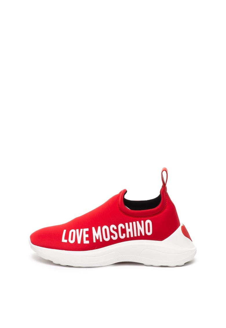 Pantofi sport slip-on cu detaliu de piele