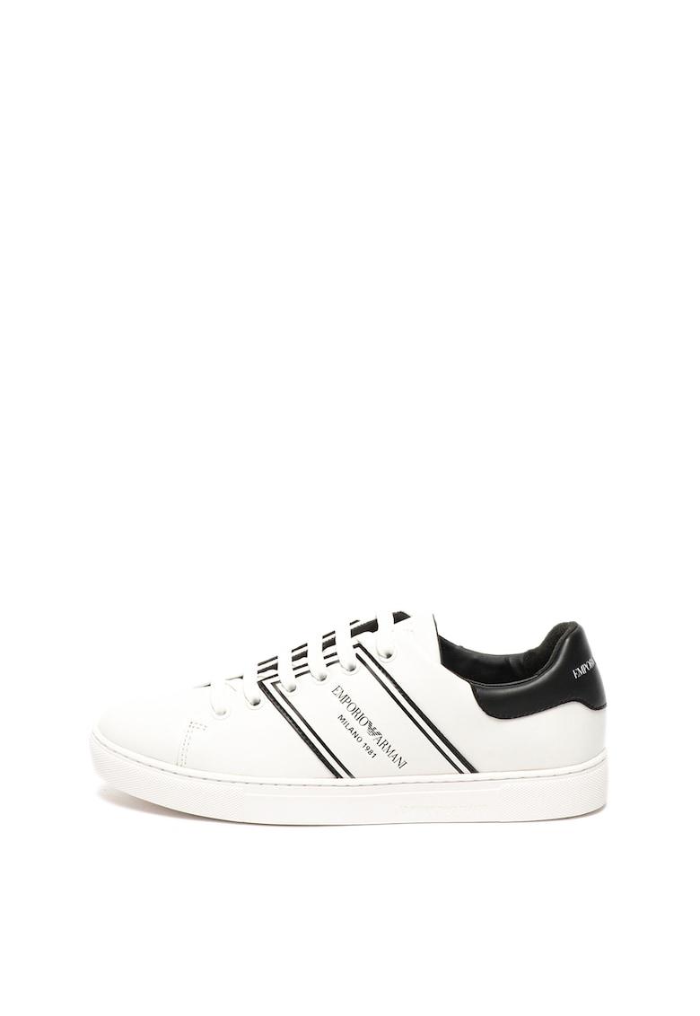 Pantofi sport de piele cu logo stantat 1