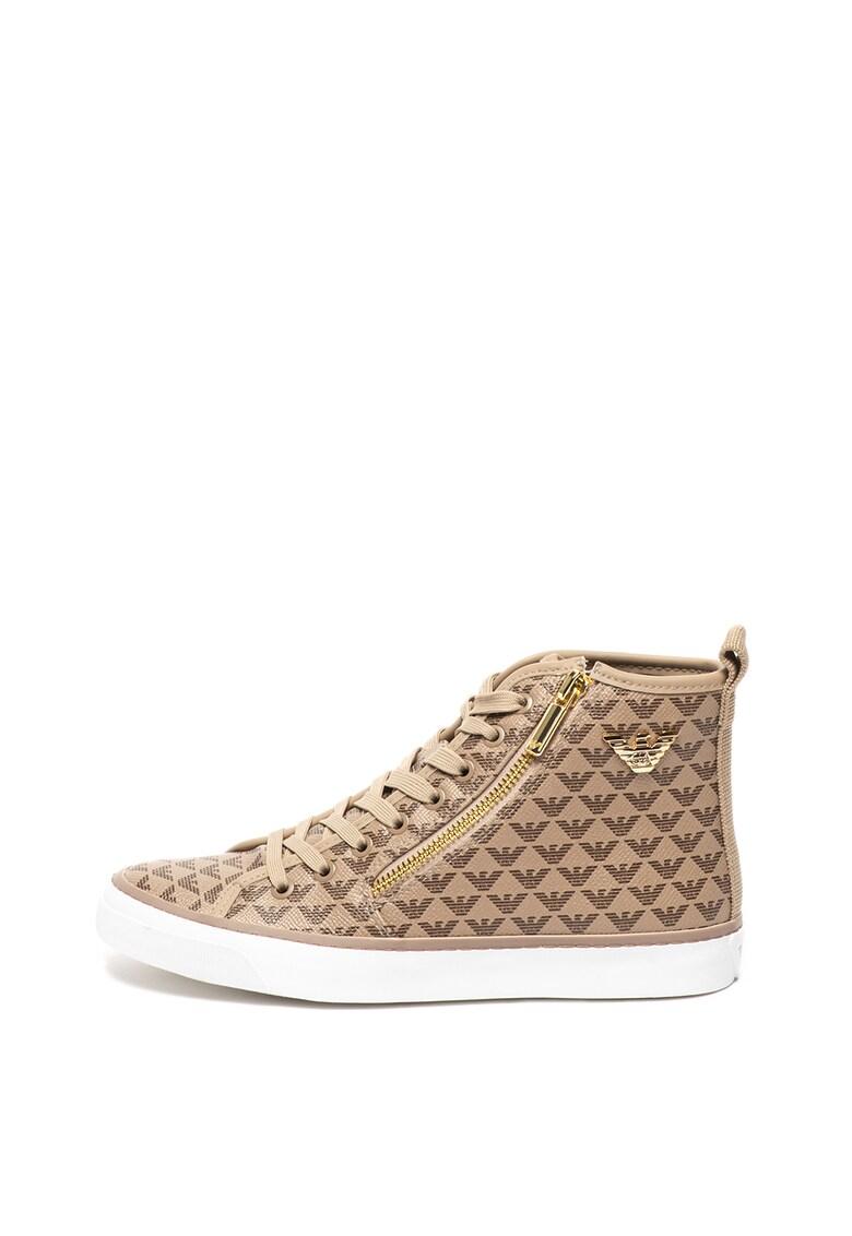 Pantofi sport mid-high cu model cu monograma