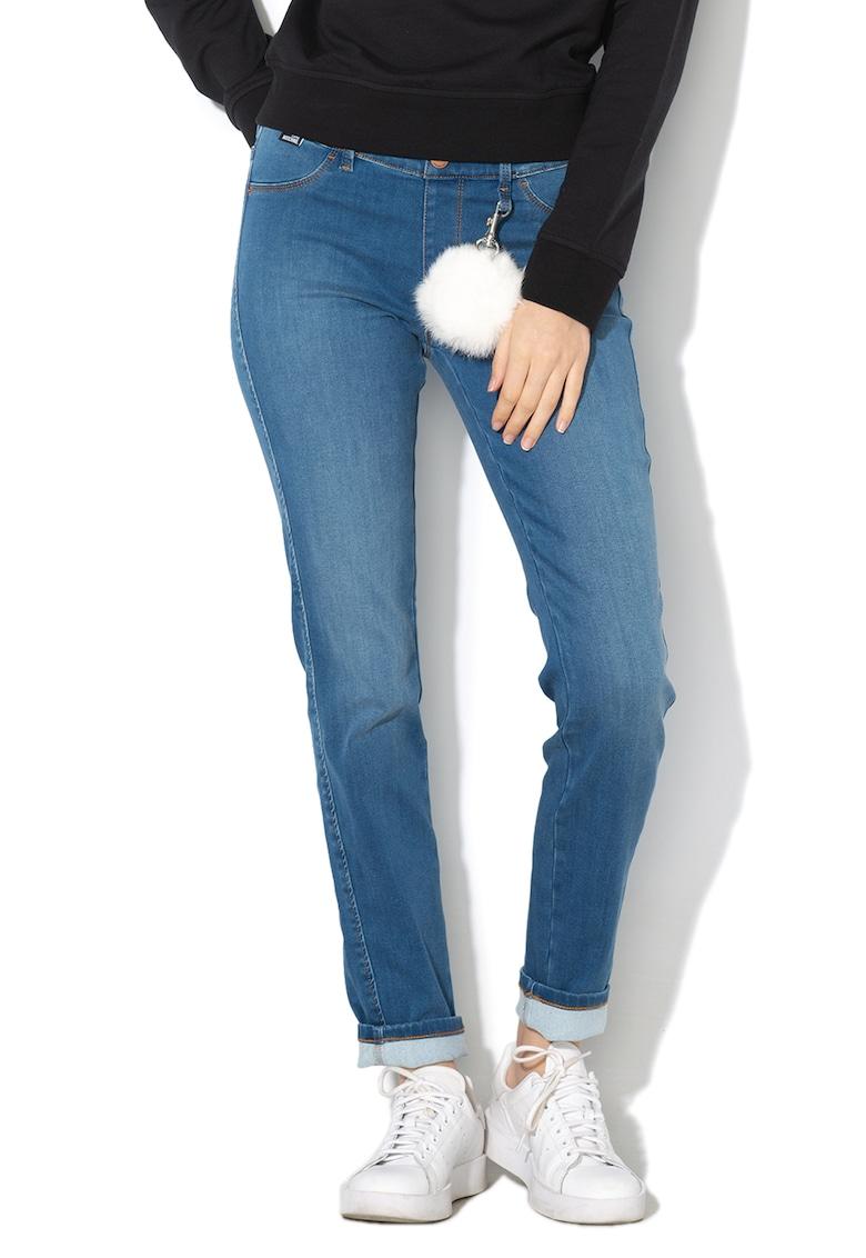 Jeggings slim fit cu accesoriu detasabil de blana Love Moschino fashiondays.ro