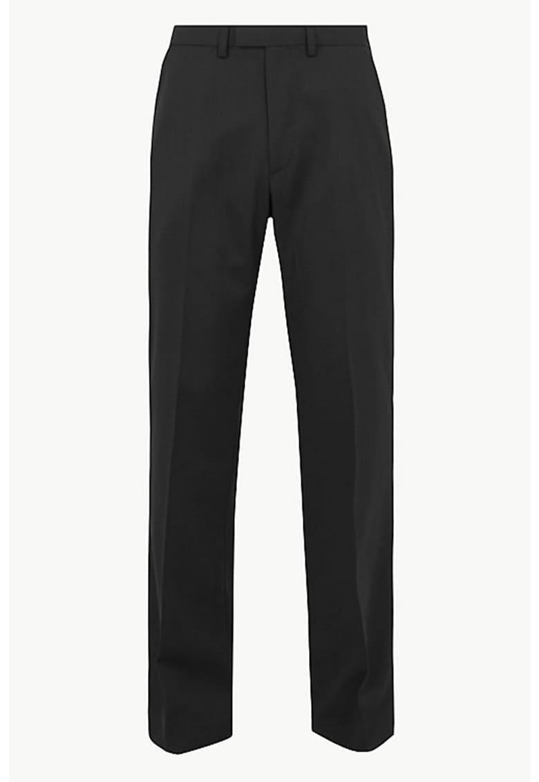 Pantaloni regular fit din amestec de lana