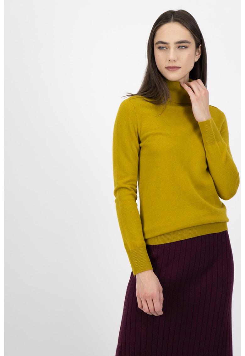 Pulover tricotat fin - din casmir - cu guler inalt