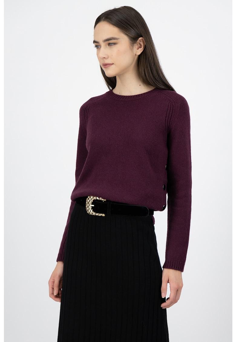 Pulover din amestec de lana si casmir - cu slituri laterale