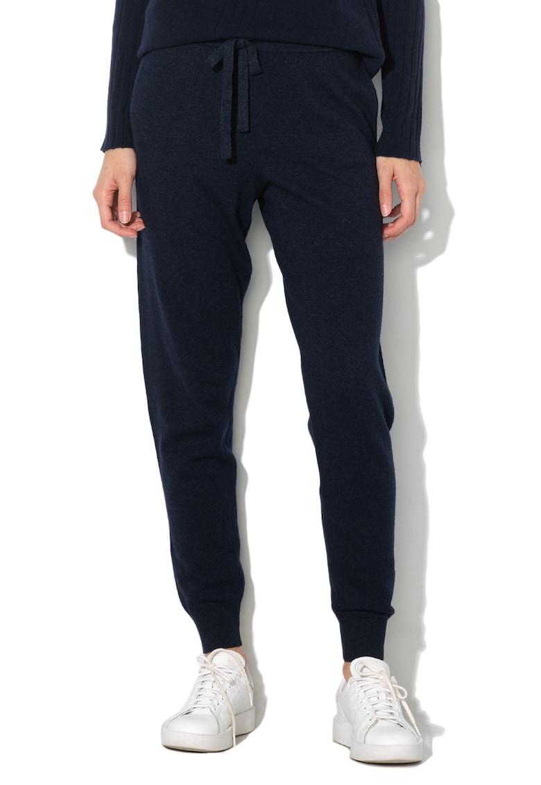 Pantaloni jogger tricotati - din amestec de lana si casmir