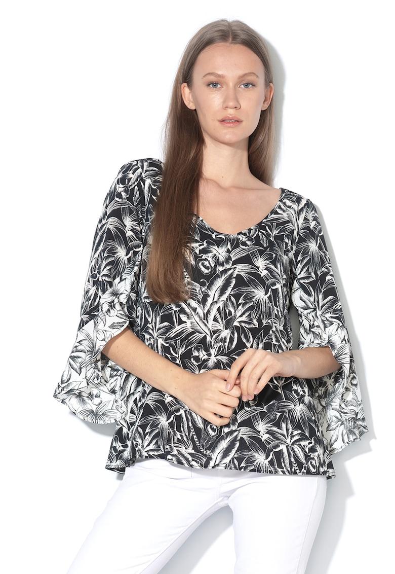 Bluza cu imprimeu floral si decolteu in V