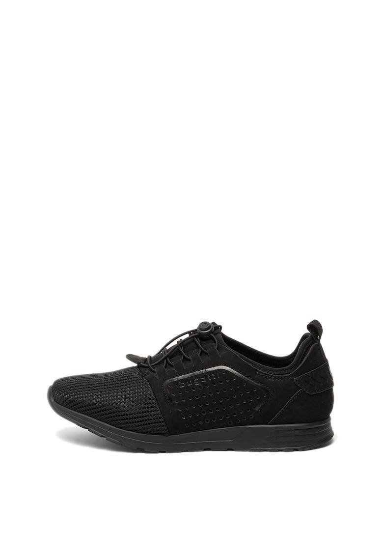 Pantofi sport de piele nabuc si plasa