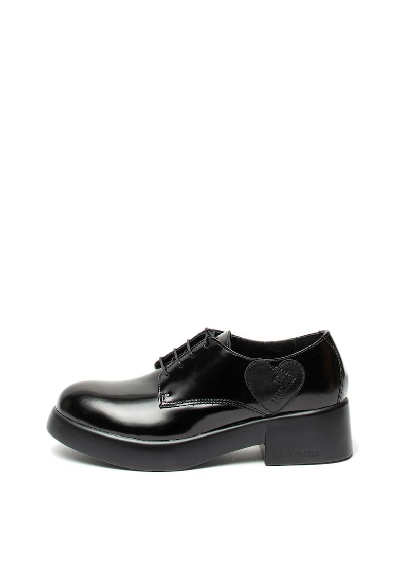 Pantofi derby de piele ecologica Love Moschino