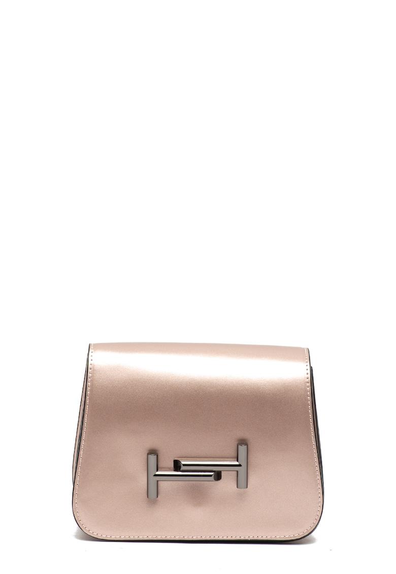 Geanta crossbody de piele cu aplicatie metalica