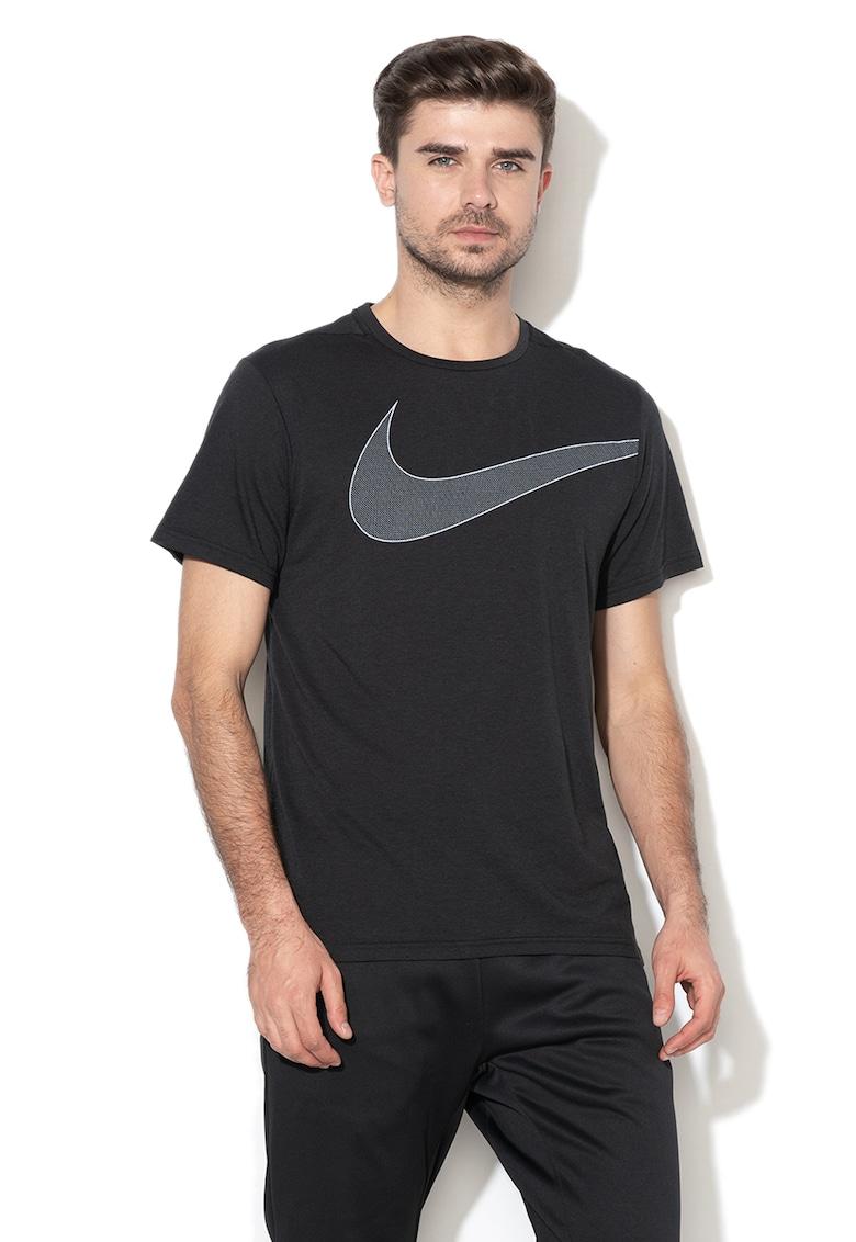 Tricou cu imprimeu logo si insertii de plasa – pentru fitness Nike