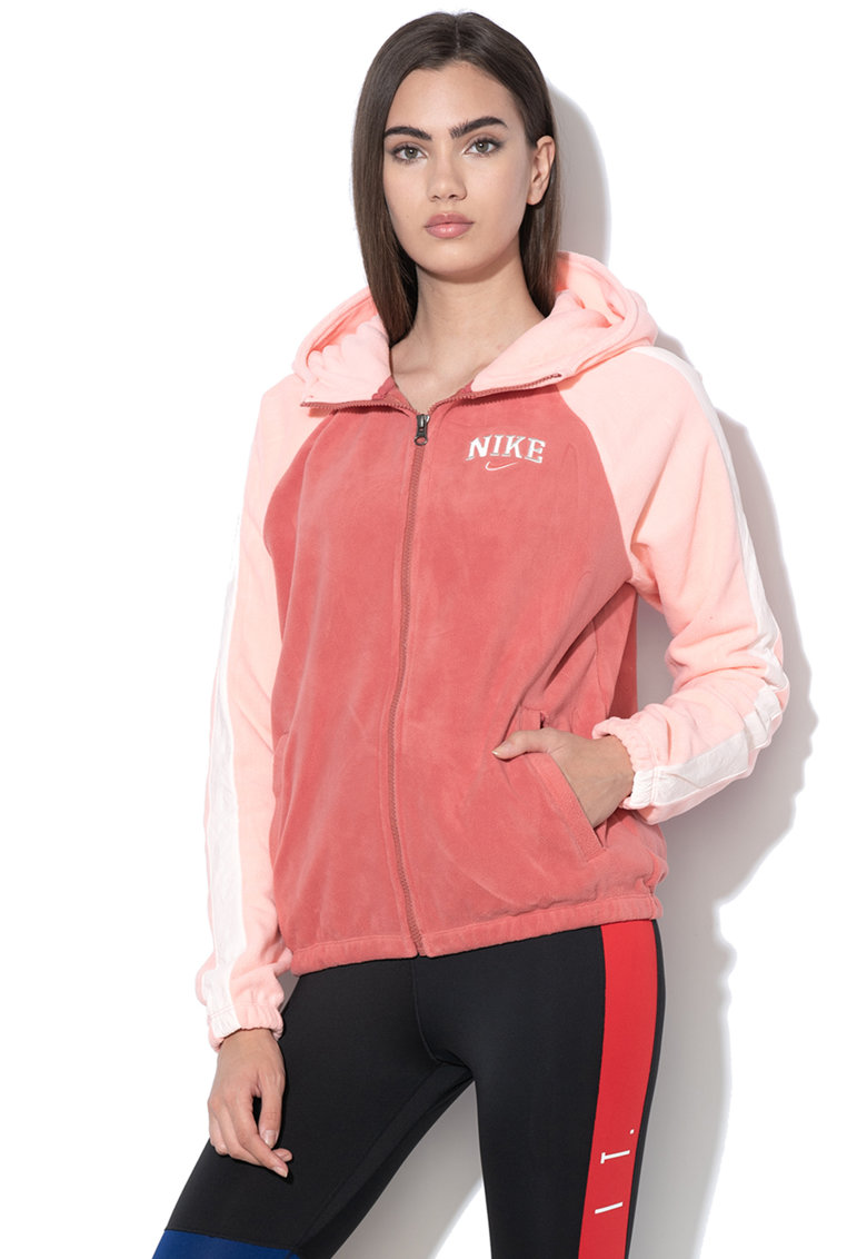Hanorac de fleece cu model colorblock