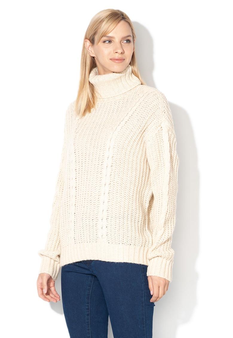 Pulover din tricot cu croiala lejera si guler inalt Imagine