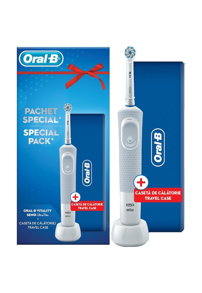 Oral-B Set Periuta de dinti electrica adulti + Travel Case Oral B Vitality D100 Sensi Ultra Thin - 1 capat - Alb