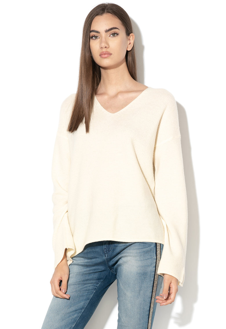 Pulover lejer din lana - cu aspect striat