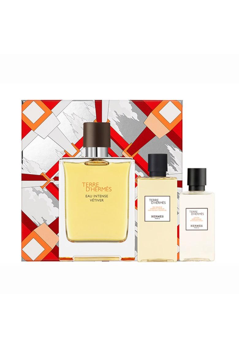 Set Terre d'Hermes Eau Intense Vetiver - Barbati: Apa de Parfum - 100 ml + After shave - 40 ml + Gel de dus - 80 ml imagine