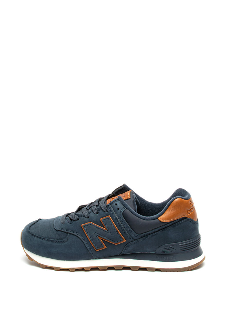 Pantofi sport de piele nabuc si piele 574