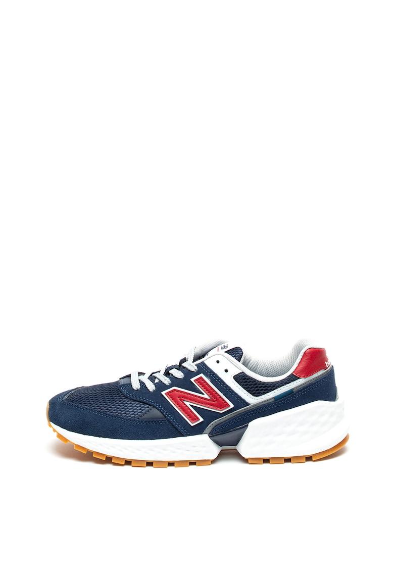 Pantofi sport cu garnituri de piele intoarsa si plasa 574