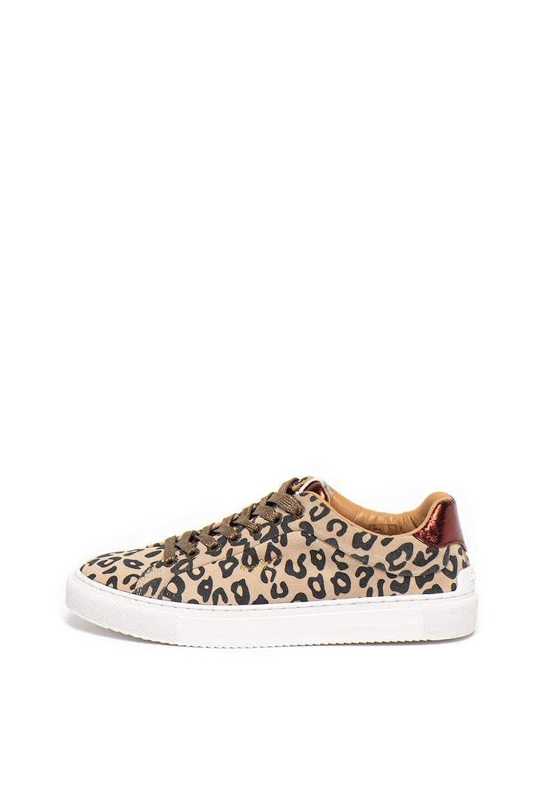 Pantofi sport de piele intoarsa cu animal print Adams