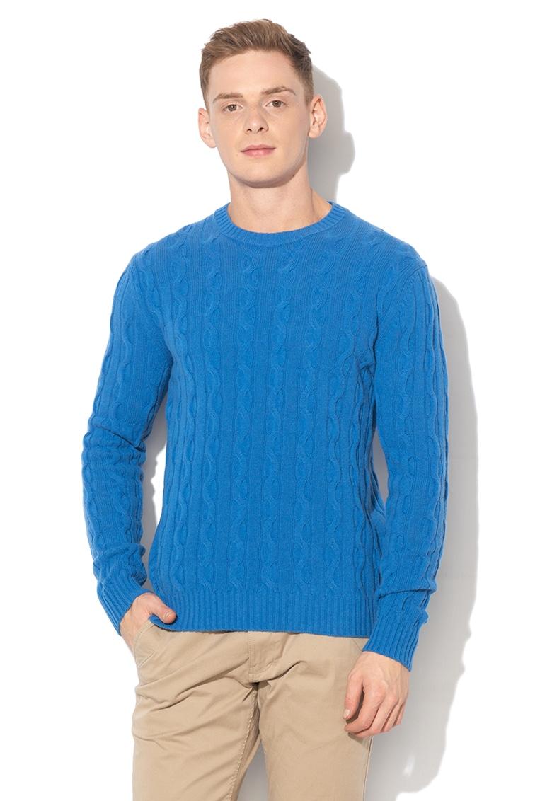 Pulover din amestec de lana - cu model torsade