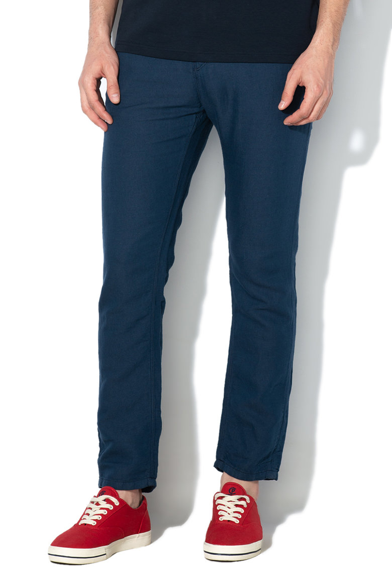 Pantaloni slim fit - de in si bumbac