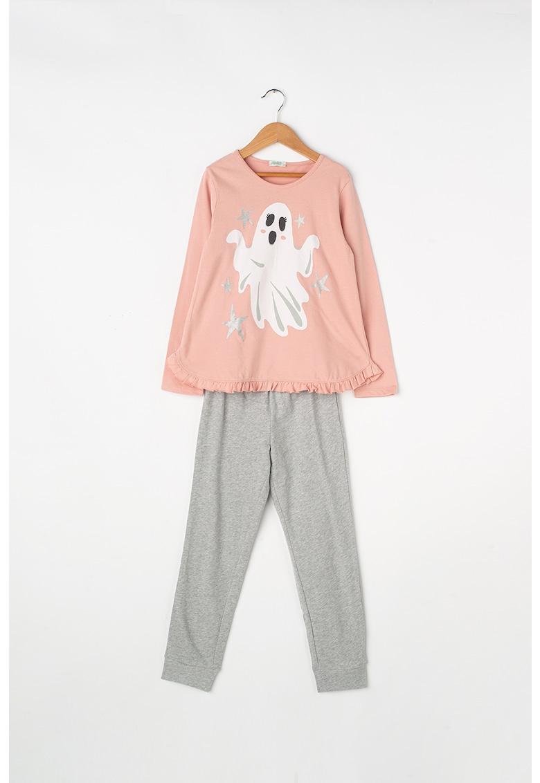 Pijama din bumbac cu insertii luminiscente imagine fashiondays.ro 2021