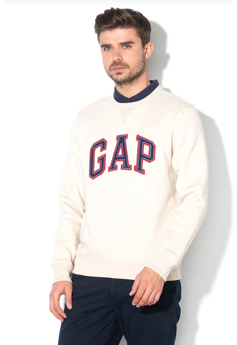 Bluza sport cu decolteu la baza gatului si aplicatie logo brodata